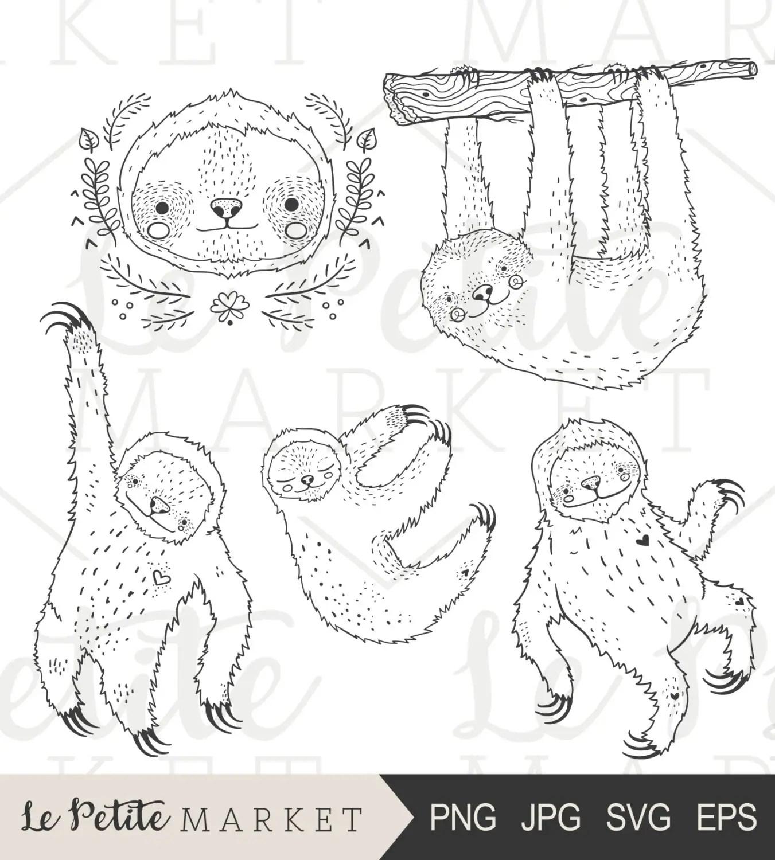 Hand Drawn Sloth Clip Art Cute Sloth Clipart Cute Sloth