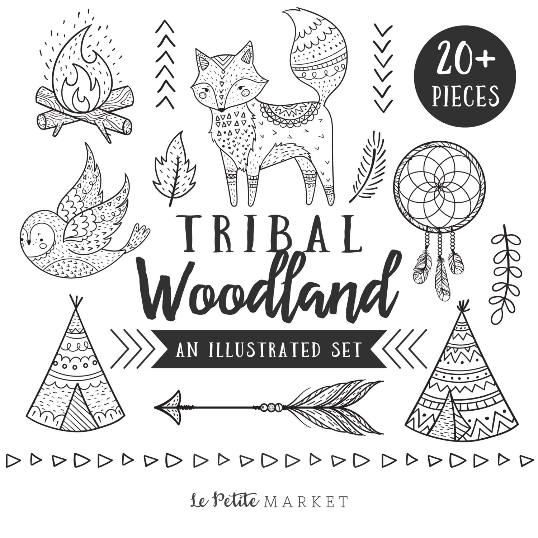 Hand Drawn Tribal Woodland Clip Art Tribal Animal Clip Art