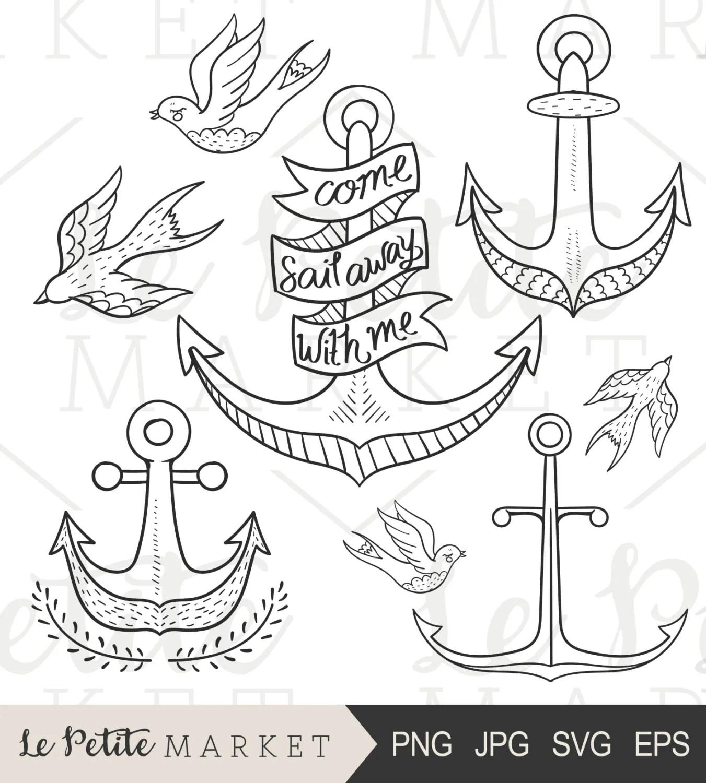 Hand Drawn Anchor Clip Art Anchor Clipart Doodle Anchor