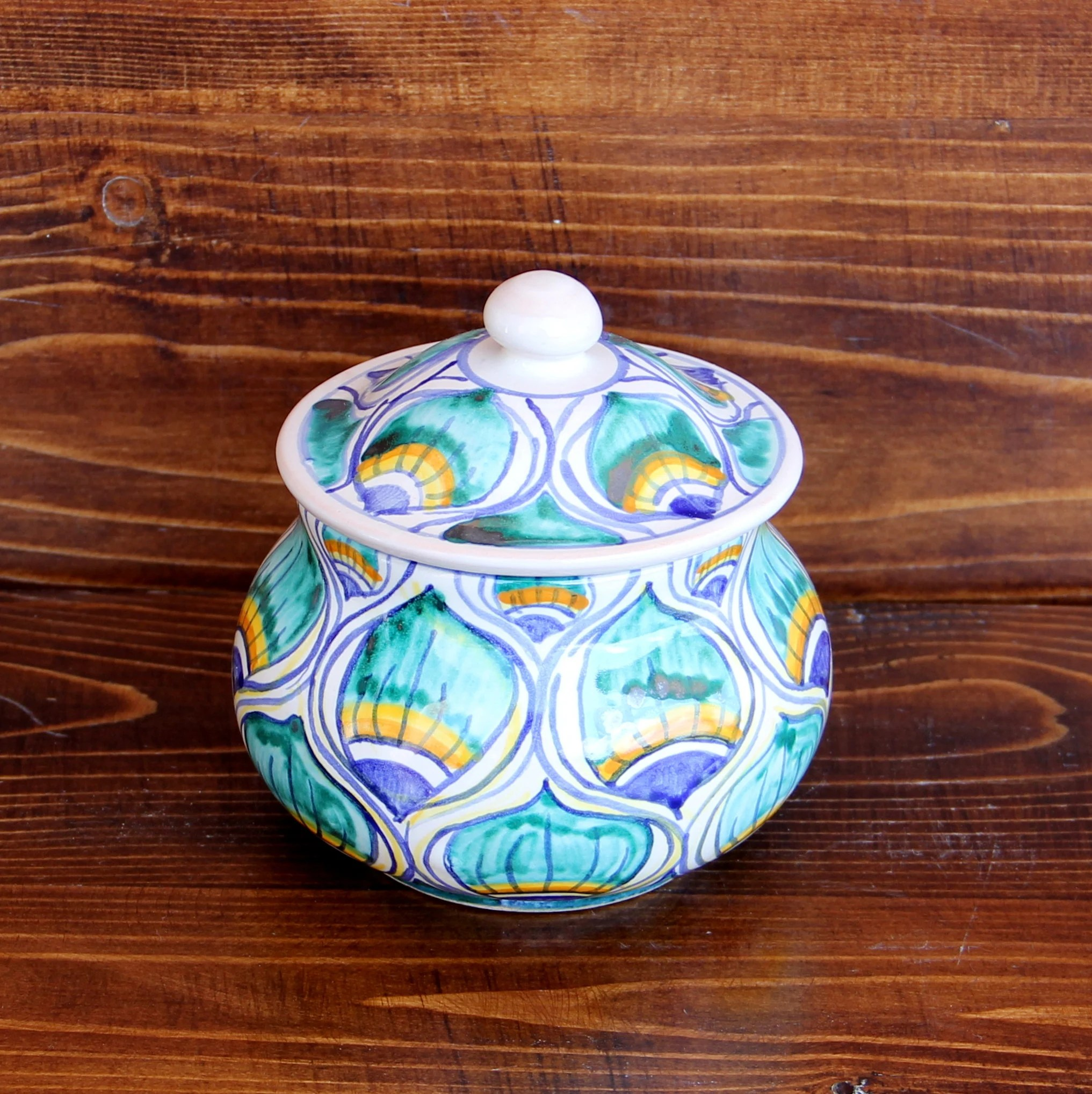 kitchen pottery canisters building cabinet doors small green italy ceramic jar canister and container coffee jars or spices handpainted italian gift for mom