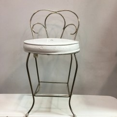 Bedroom Chair With Skirt Leather Steel Frame Vanity Etsy Vintage George Koch Hollywood Regency Style White Chrome Stool Seat