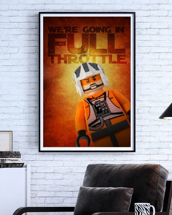 Lego Star Wars Luke Skywalker X Wing Pilot Wall Art Custom Made Kids Room Decor Photo Digital Art
