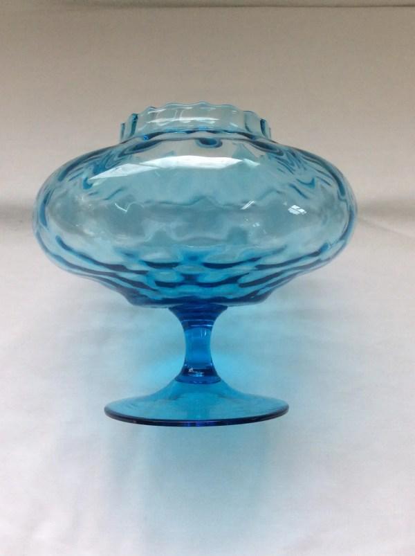 Blue Pedestal Bowl Glass Sawtooth Edge