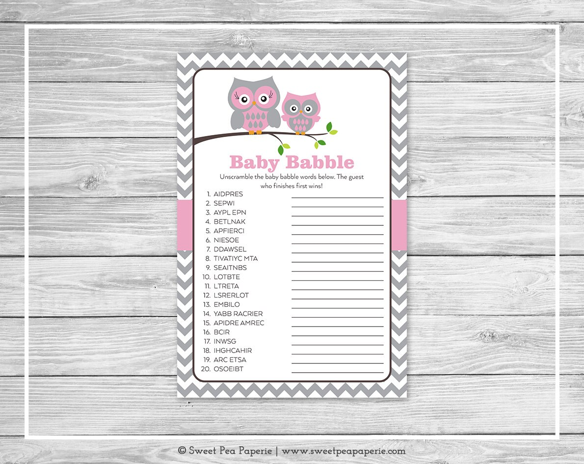 Owl Baby Shower Baby Babble Game Printable Baby Shower