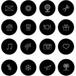 Instagram Story Highlight Cover Icons Black & White Minimal Etsy