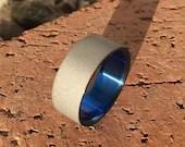 Titanium Anodized Sandblasted Wedding,Statement or Engagement Ring