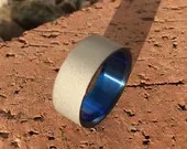 Titanium Anodized Sandblasted Wedding,Statement or Engagement Ring