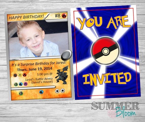 pokemon card birthday invitation with picture