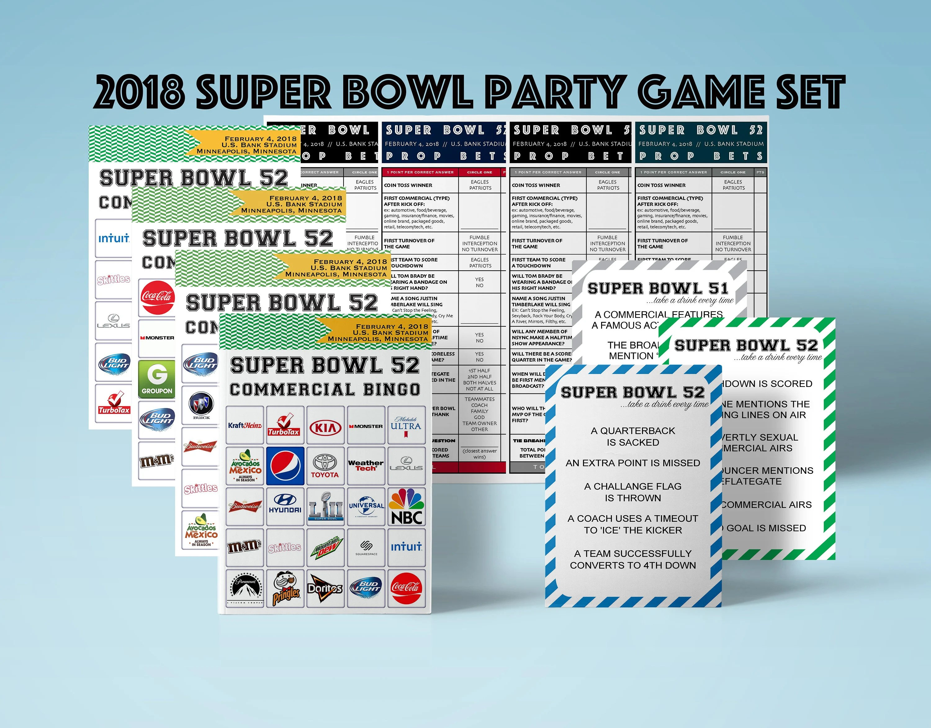 Super Bowl Party Game Set Printable Commercial