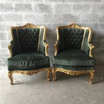 French Furniture Antique Chair French Settee 2 Piece Set Avail Green Velvet Tufted Bergere Baroque Bergere Rococo Furniture French Chair