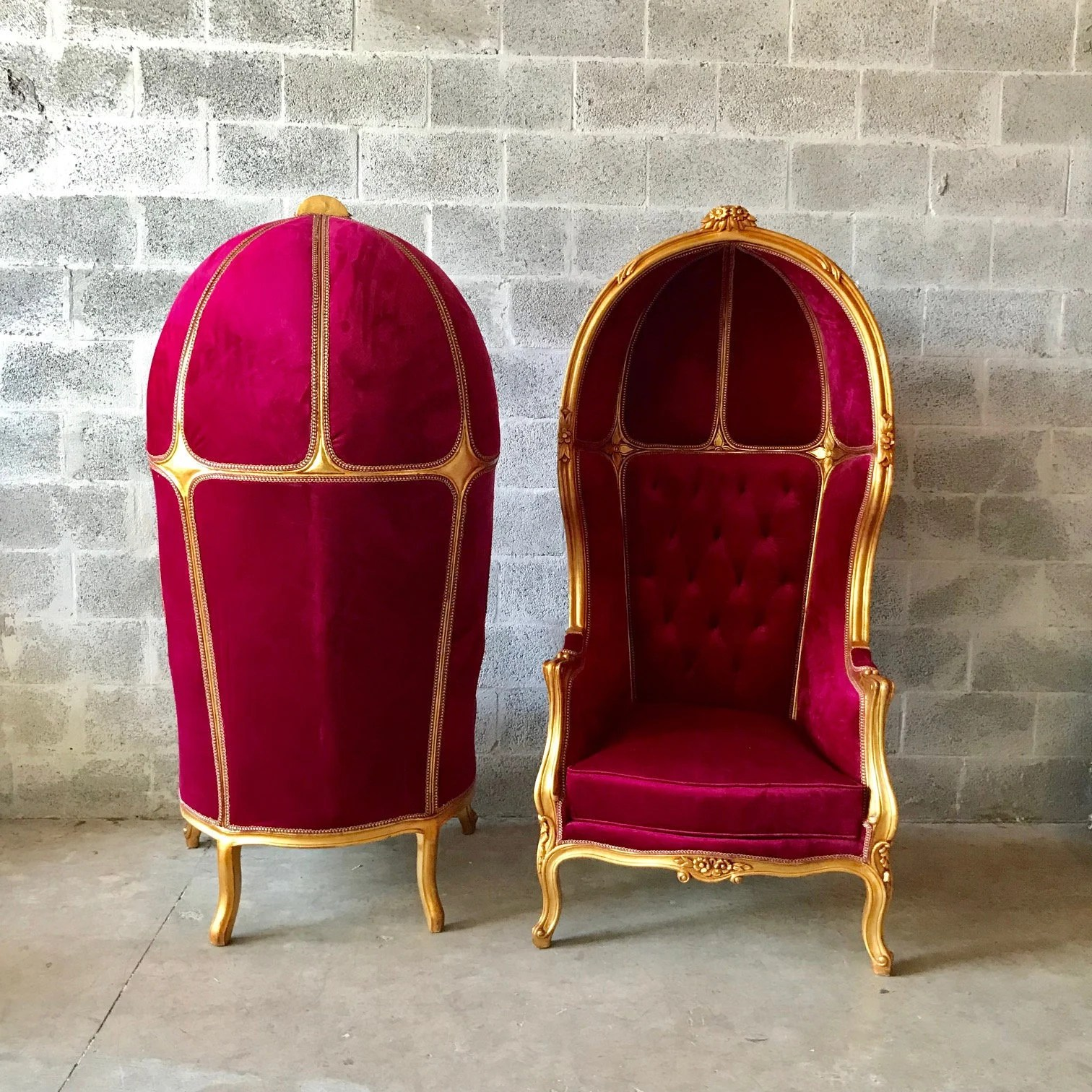 french velvet chair pottery barn irving reviews balloon throne reproduction dark red gallery photo