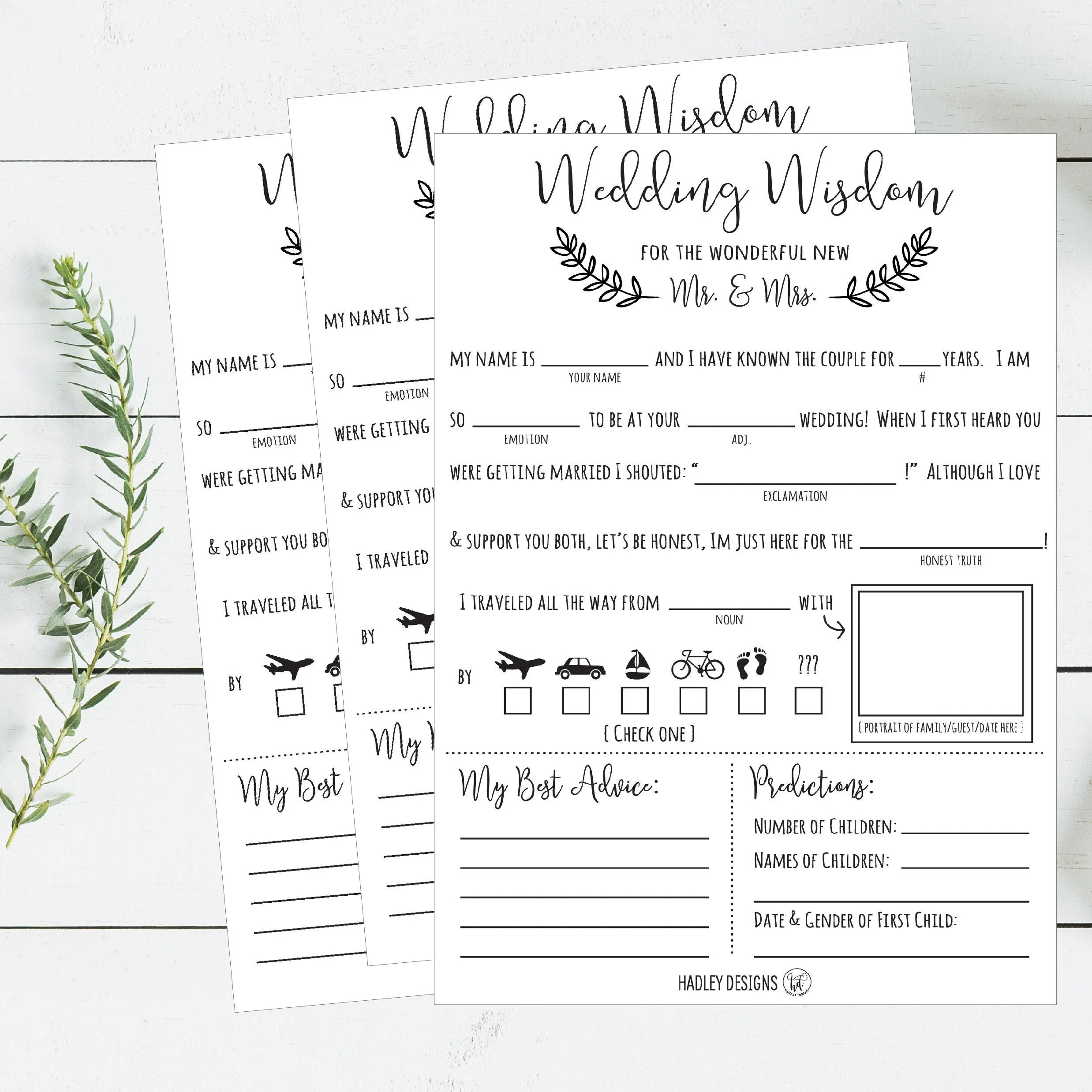 Mad libs Wedding Wisdom Printable Cards Rustic Elegant