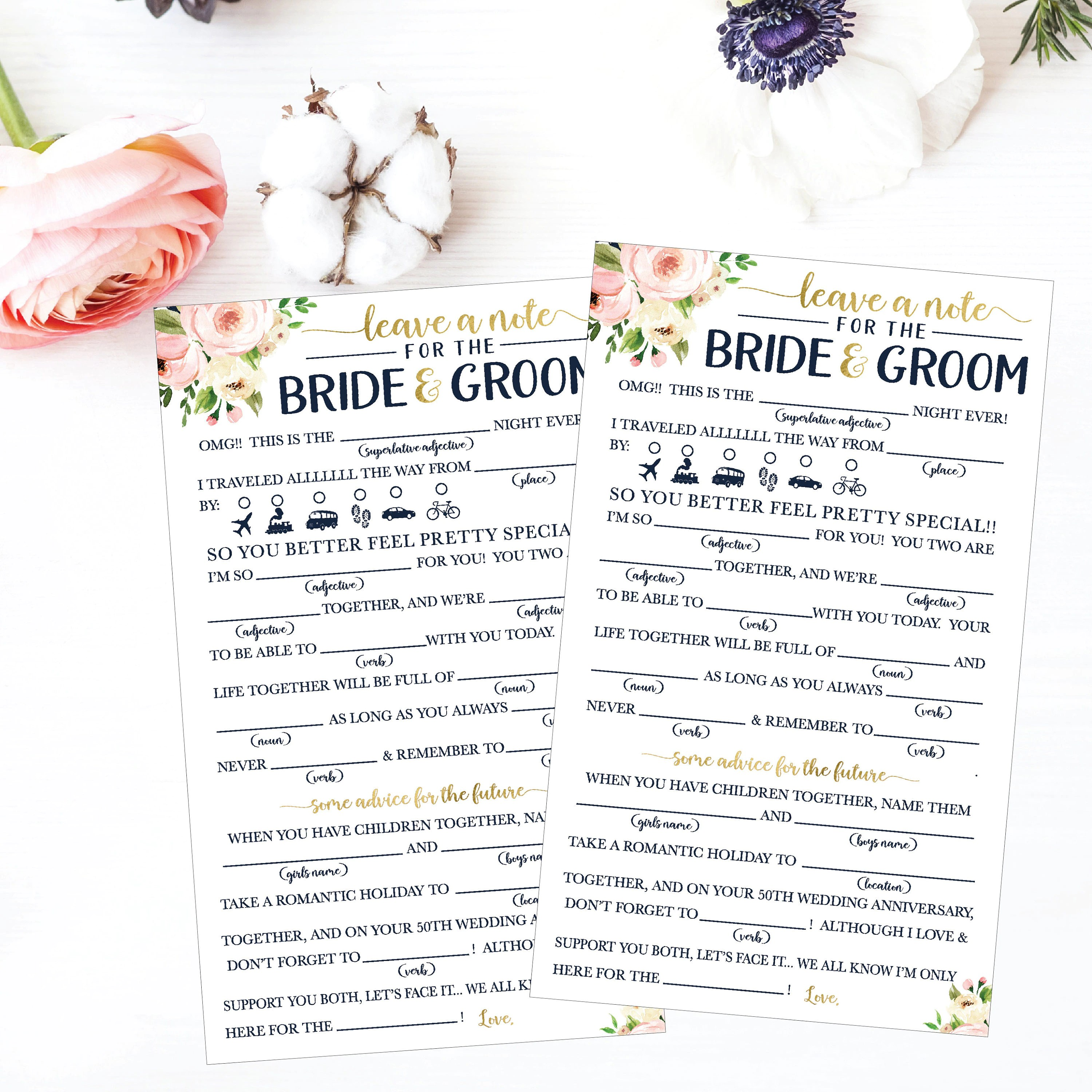 Wedding Mad Lib Printable Wedding Madlibs Funny Wedding