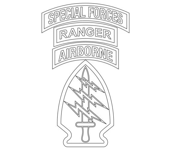 US Army Special Forces Patch with SF and Ranger Tabs