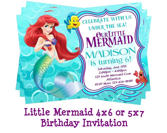 little mermaid invitation etsy