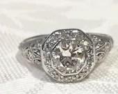 Art Deco Vintage Diamond Engagement Ring, Platinum...read more