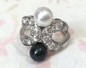 Pearl And Diamond Vintage Ring, 18K White Gold Black...read more