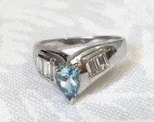 Aquamarine And Diamond Ring, March Birthstone Ring...read more