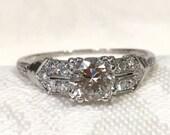 Art Deco Filigree Ring,Platinum Diamond Engagement...read more
