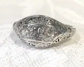 Filigree Diamond Engagement Ring, 19K White Gold Two...read more