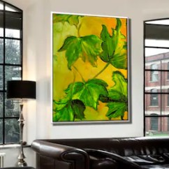 Paintings For Living Room Quotes Wall Art Painting On Etsy Oil Canvas Nature Leaf Original Decor Leaves