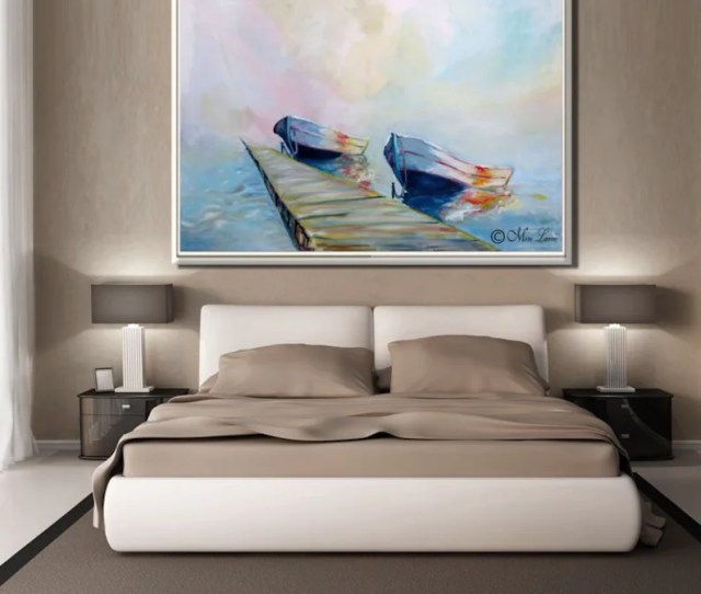 Boat Wall Art Seascape Painting Print On Canvas Boat Wall Etsy