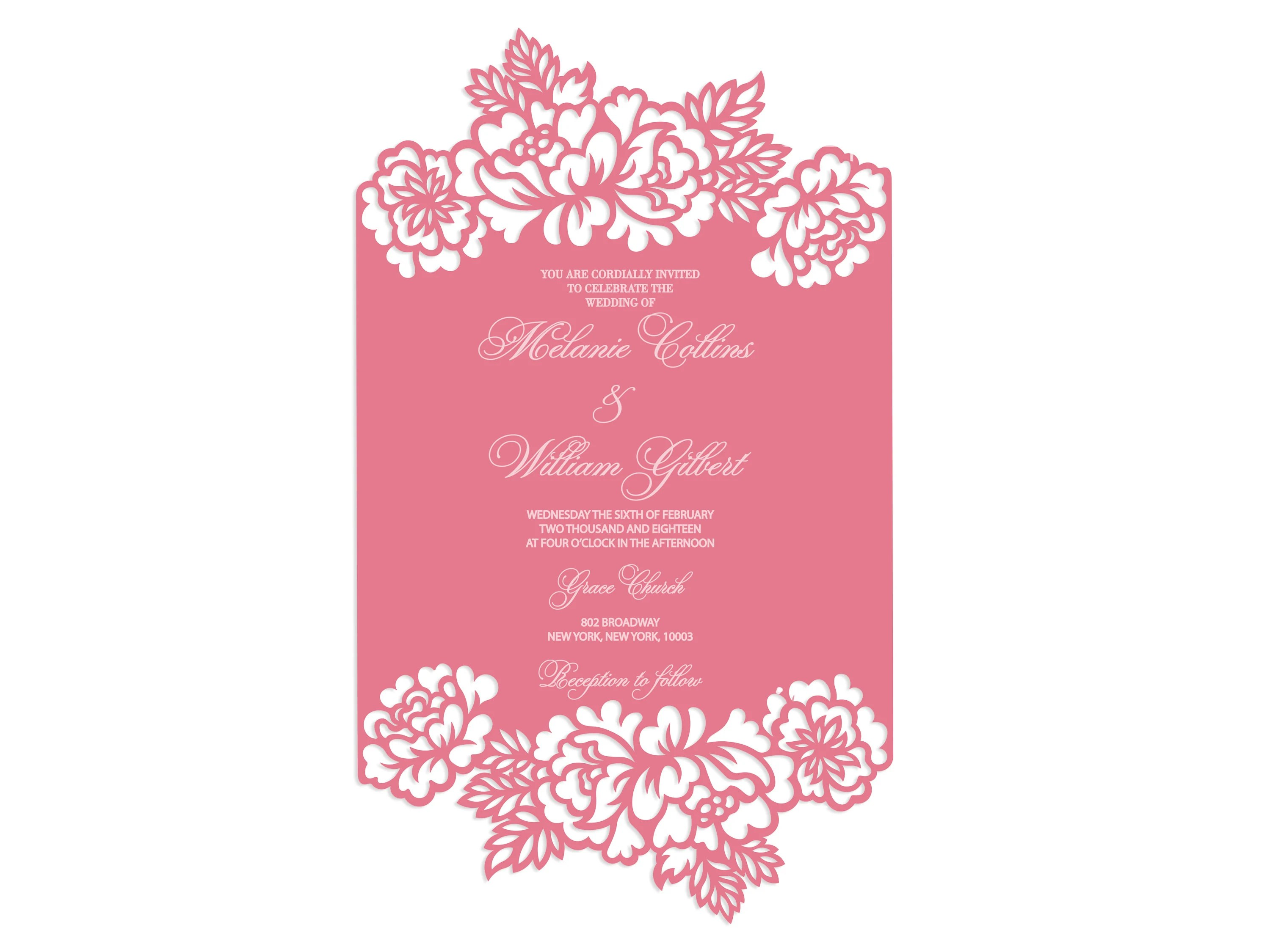 Can cut all sort of plastics, wooden materials, mdf, etc. Floral Frame Card Laser Cut Wedding Invitation Template 5x7 Etsy