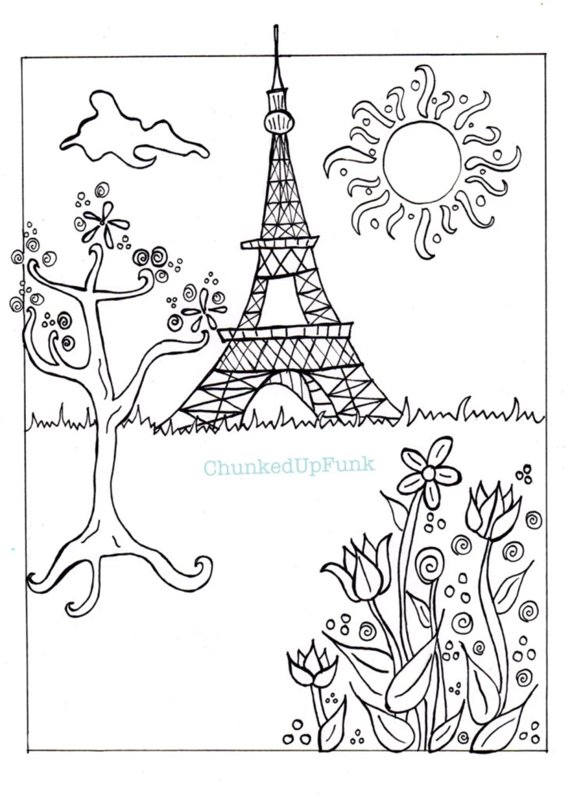 Paris Illustration PDF Coloring Page Paris in Spring City