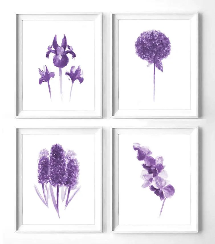 printable watercolor flowers set