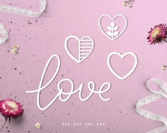 Download Lettering love heart embellishments cut file svg dxf png ...