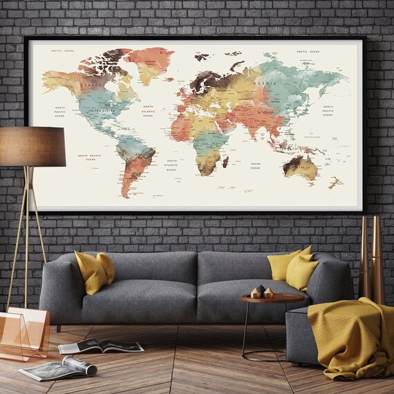 Amazon wood world map wall art large wall art map reclaimed large wall art world map push pin print watercolor world map etsy gumiabroncs Images