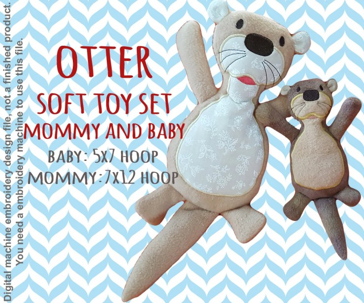 OTTER softie toy SET Mommy and Baby- 5x7 and 7x12 hoop - ITH - In The Hoop - Machine Embroidery Design File, digital download