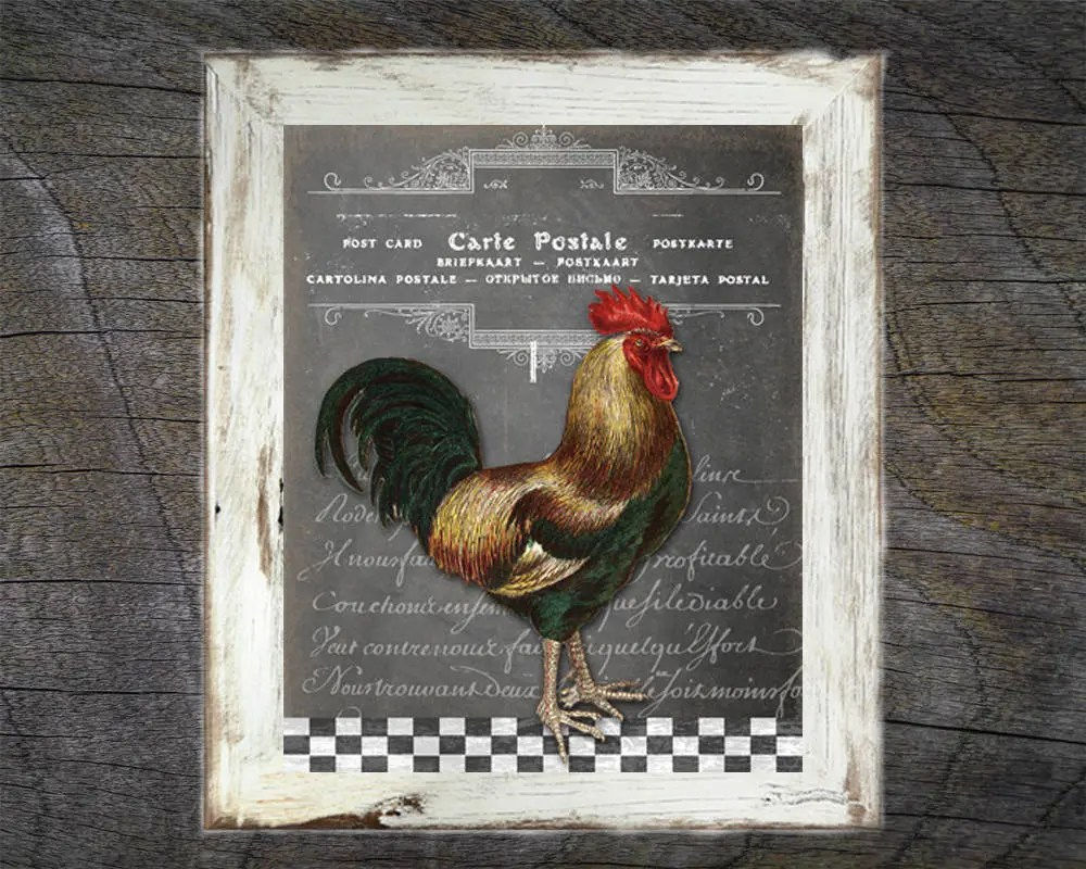 rooster kitchen decor garbage pails art wall etsy image 0