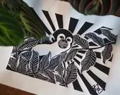 Monkey Handmade Art Print Linocut