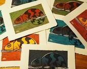 Chameleon handmade art print Linocut