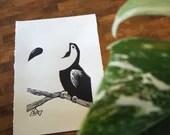 Toekan Handmade Art Print Linocut Bird Minimalist