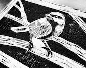 Koolmees Handmade Art Print Linocut Bird