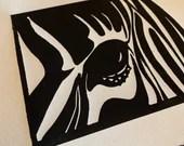 Zebra Handmade Art Print Linocut