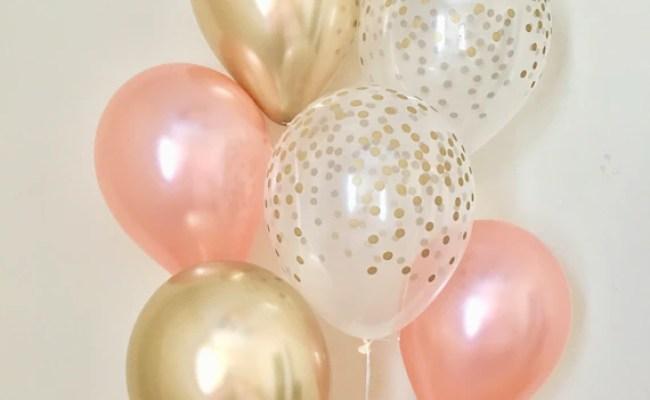 Rose Gold Chrome Gold /& Clear Gold Confetti Latex Balloon~Birthday~Wedding~Bridal Shower~Rose Gold Balloon~Gold Confetti Look Balloon~Chrome