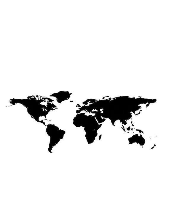 Monde carte murale Art imprimable Clipart, carte du monde