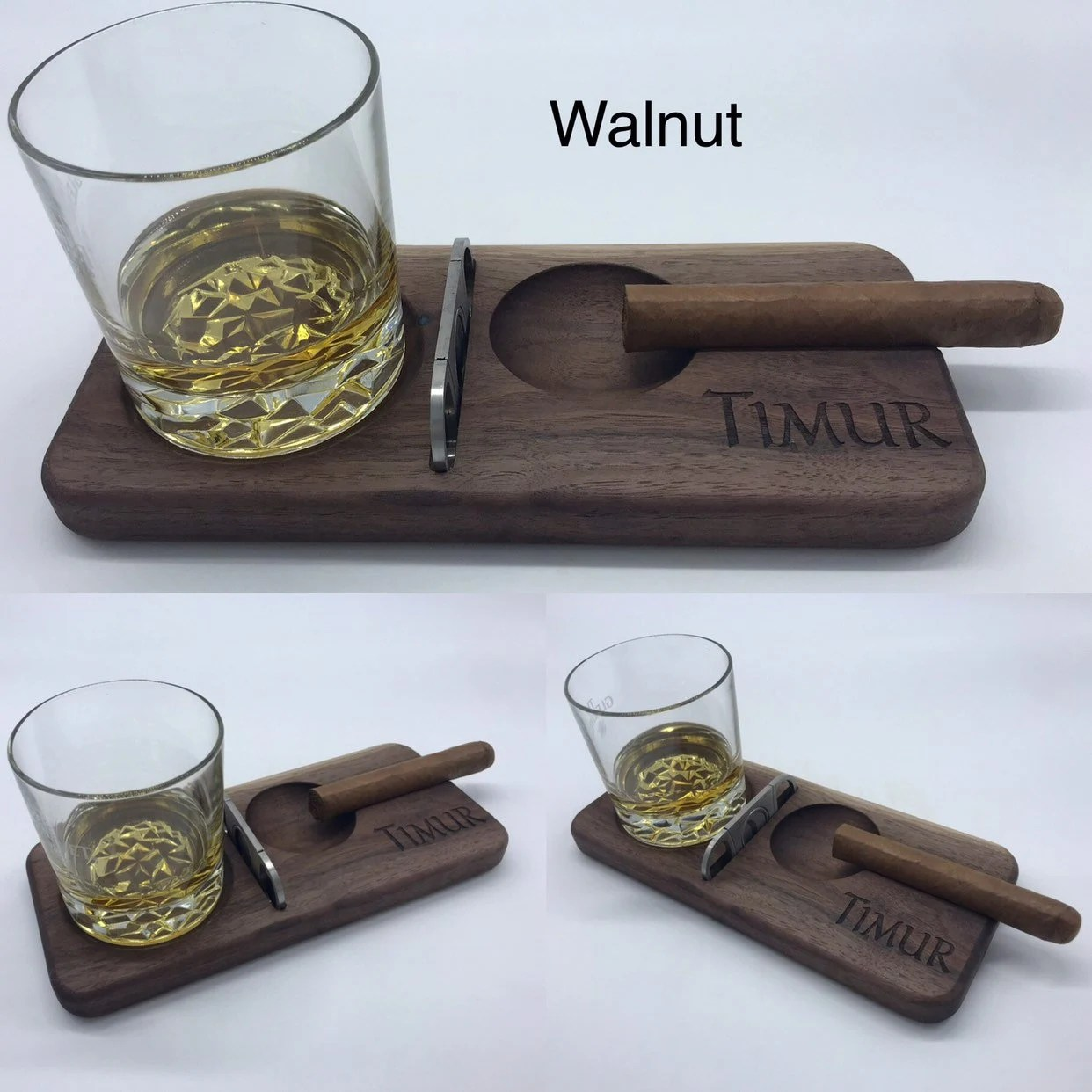 personalized cigar and whiskey