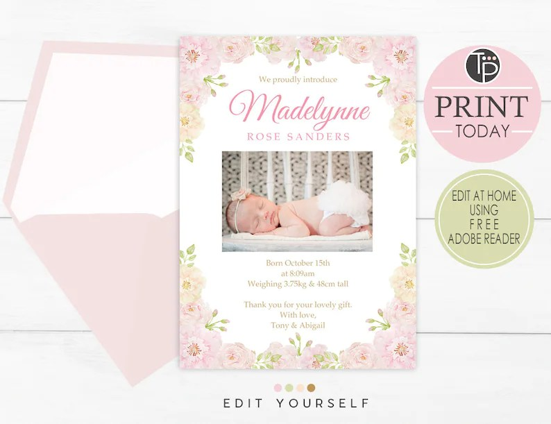 girl birth announcement instant