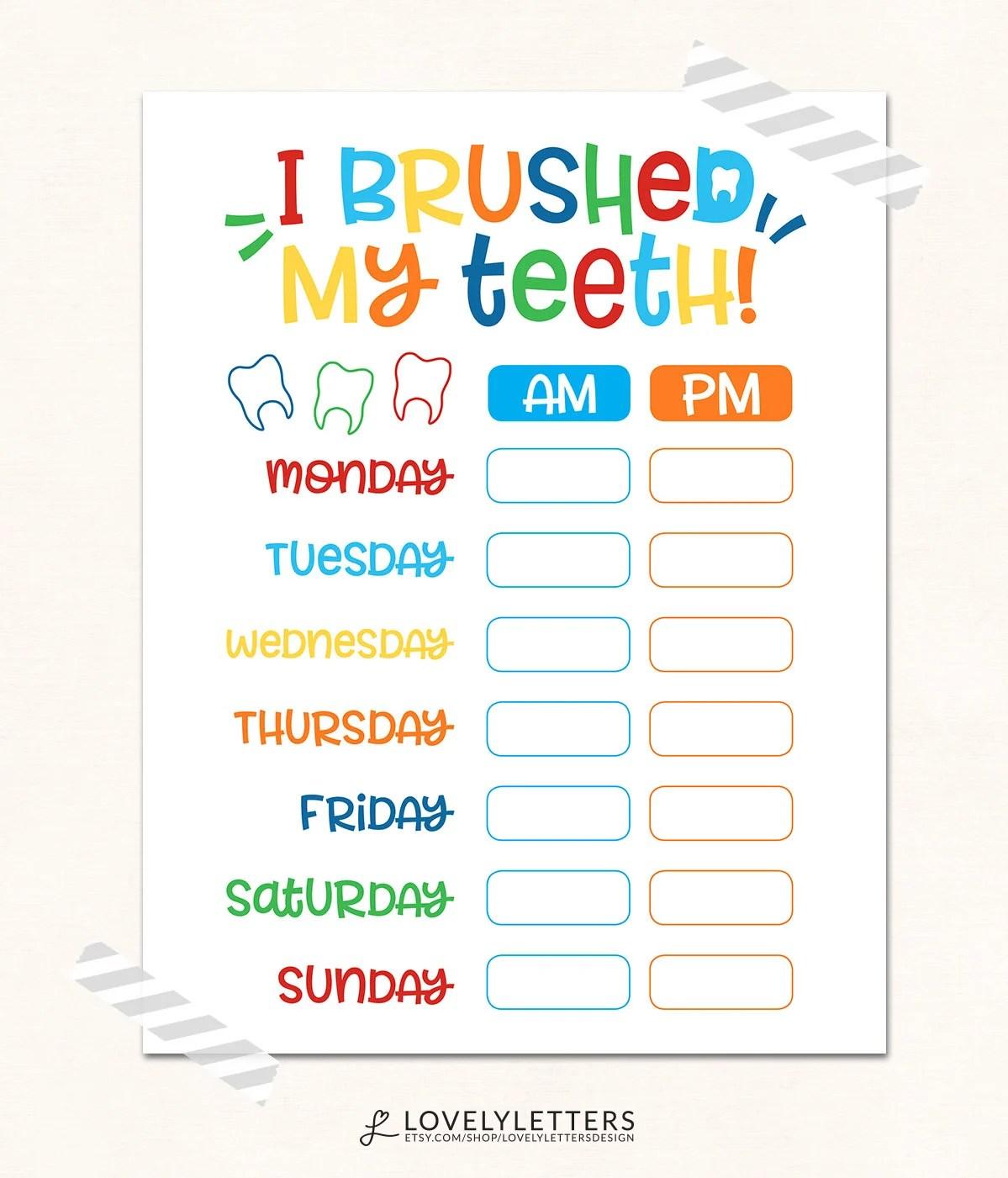 Teeth Brushing Chart Digital I Brushed My Teeth Kids
