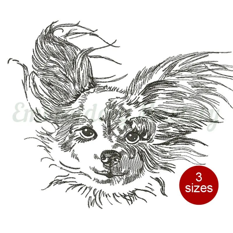 PAPILLON DOG machine embroidery design Butterfly dog Dog