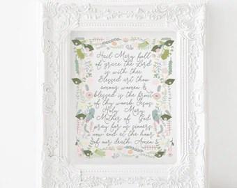 Hail Mary Prayer Printable Catholic Rosary Prayer Print