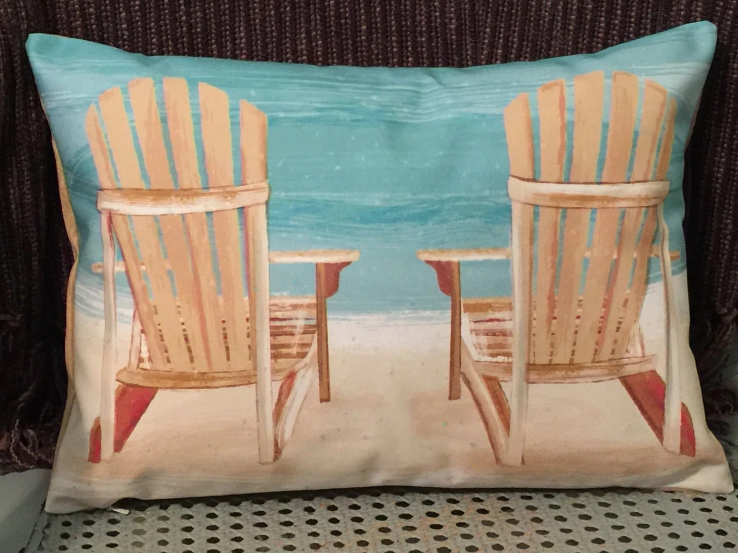beach chair pillow with strap outside table and chairs for 2 etsy custom cover adirondacks at the peaceful living decorative
