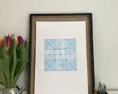 Decussate - original handpulled 4 layer screenprint (blue)