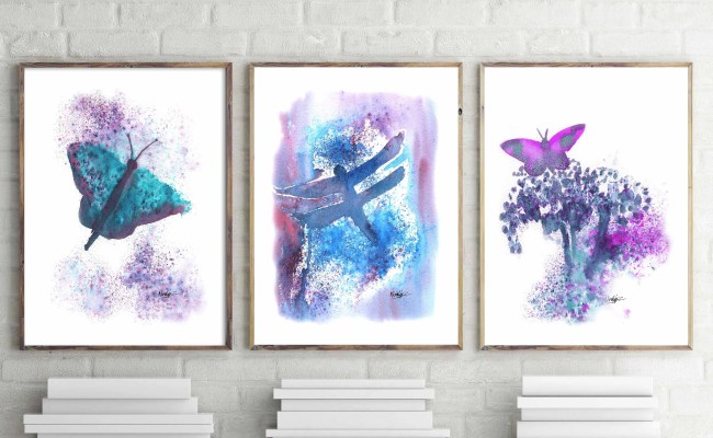 Butterfly Teal Wall Art Home Decor Watercolor Wall Decor