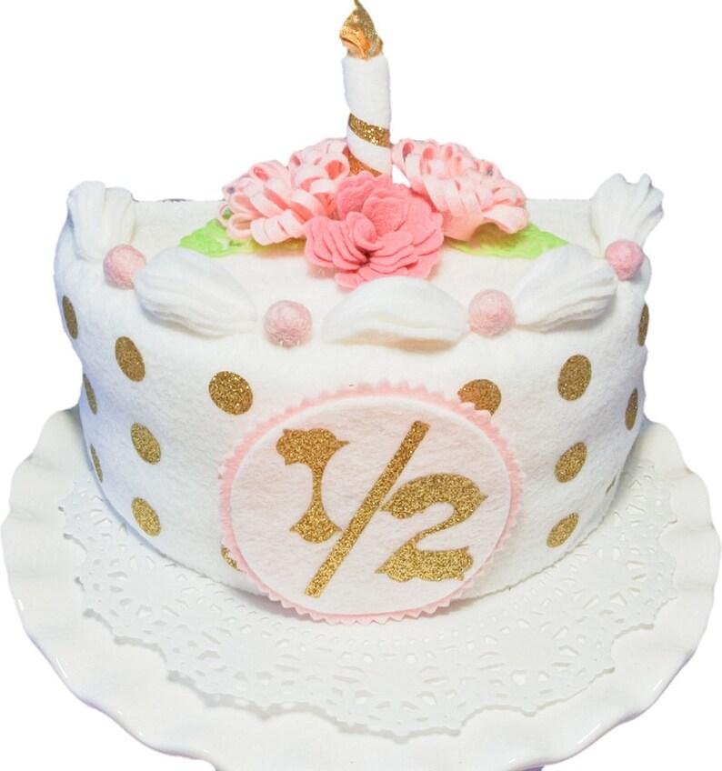 Half Birthday Cake Whitegold Felt Cake Baby Photo Prop Etsy