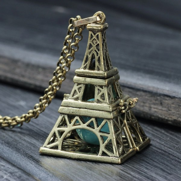 Eiffel Tower Charm Necklace 4 Color Personalized